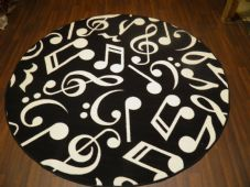 133CMX133CM MUSIC BLACK RUGS/MATS HOME/SCHOOL EDUCATIONAL NON SILP NURSERY LEARN